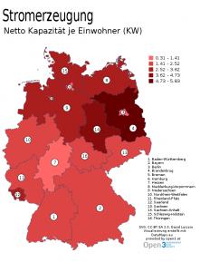 Stromerzeugung je Einwohner in KW