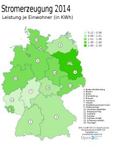 Leistung je Einwohner (Jahresmittel in kWh)