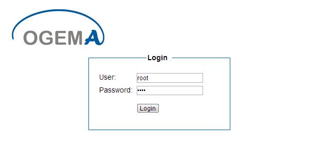 OGEMA Anmeldung mit root/root