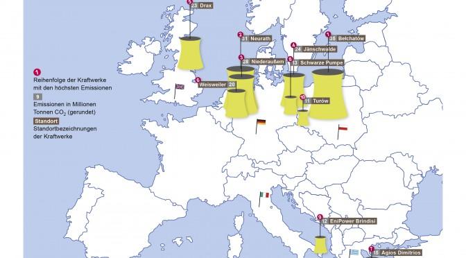 Top 10 der Kraftwerke mit dem höchsten CO2 Ausstoß in der EU (Visualisierung: Öko-Institut - Lizenz: CC-SA)