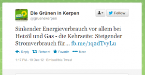 Tweet der Grünen in Kerpen