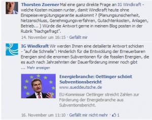 Timeline IG Windkraft auf Facebook