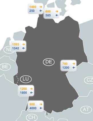 Leitungskapazität Stromfluss Deutschland 29.11.2013 zwischen 17:00 und 18:00 Uhr (Grafik: ENTSOe)