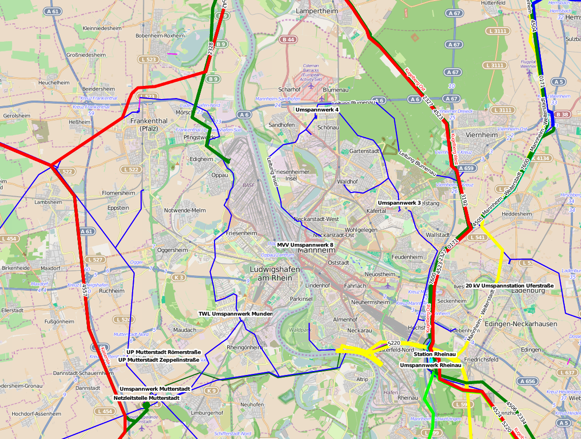 Anbindung Stromnetz Mannheim - Daten: powerland.bplaced.net