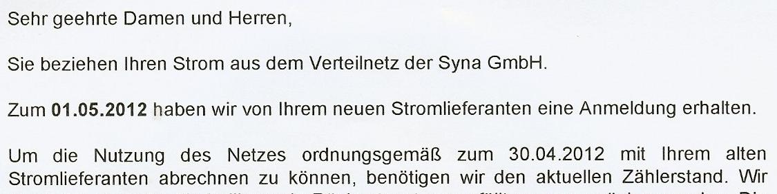 Schreiben der Syna mit Bitte um Zählerablesung wegen Lieferantenwechsel