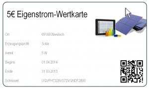 Wertkarte für den Kauf von Stromerzeugungskapazitäten