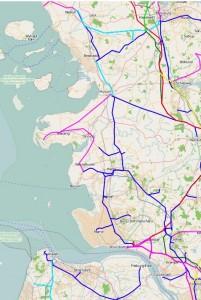 Aktuelles Stromnetz - Westküste von Schleswig Holstein (CC BY SA - OpenStreetmap)