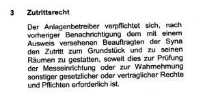 Zutrittsberechtigung im Kleingedruckten eines Einspeisevertrages (Syna GmbH)